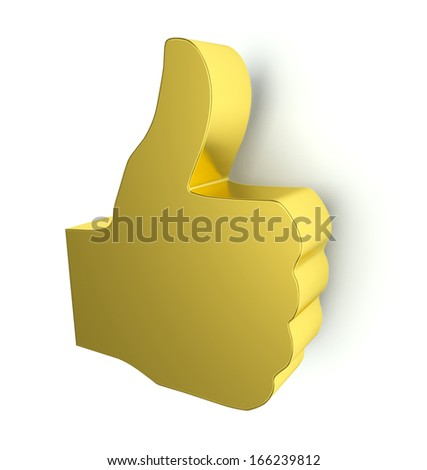 Golden thumbs up sign. 3d render. Isolated on white background.  - stock photo
