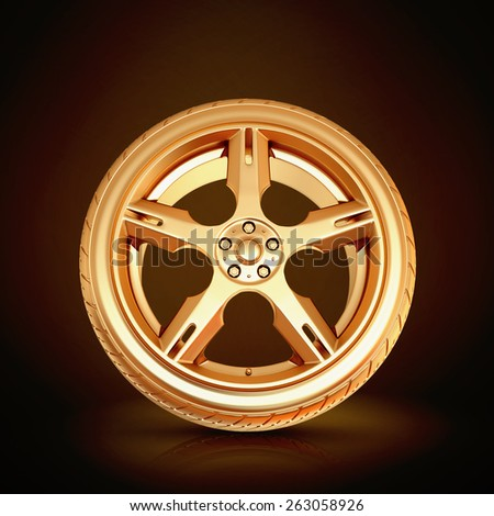 Golden tire on black  background.  High resolution - stock photo