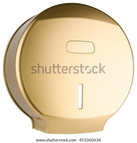 Golden toilet paper dispenser made of plastic, isolated on white background - stock photo