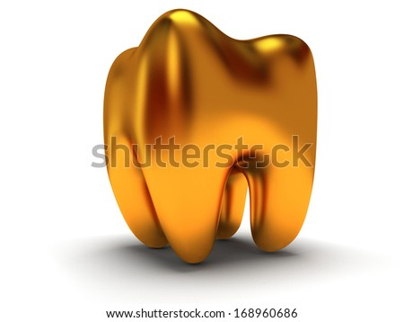 Golden tooth isolated on white background. 3D render. Dental, medicine, health concept. - stock photo