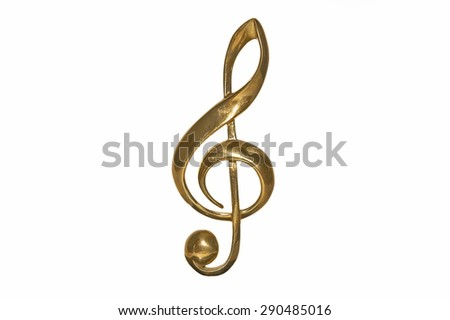 Golden treble clef isolated on a white background - stock photo