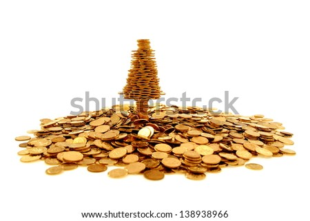 Golden tree of happiness and many golden coins - stock photo