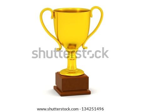 Golden Trophy - stock photo