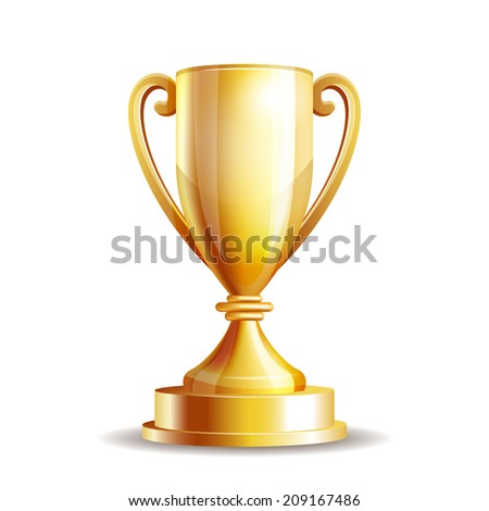 Golden trophy cup isolated on white background. - stock photo