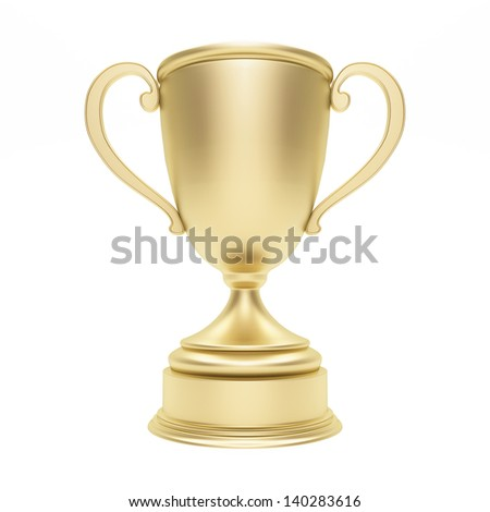Golden trophy cup on white - stock photo