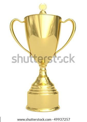 Golden trophy cup on white background. High resolution 3D image - stock photo