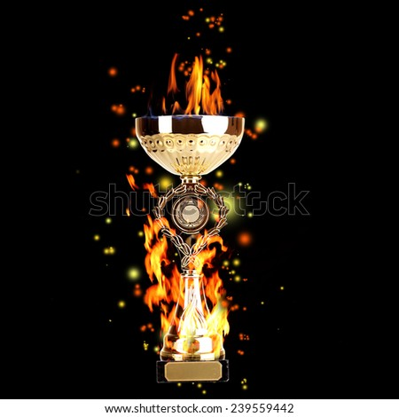 Golden trophy cup with fire on black background, sports poster - stock photo