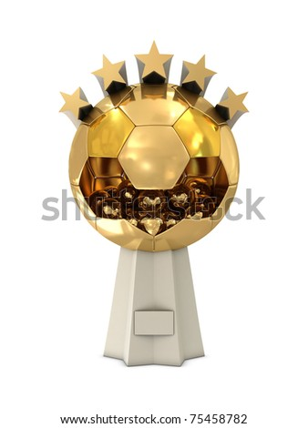 Golden Trophy With Big And Small Balls Stars Isolated On White Background