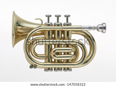 golden tuba - stock photo