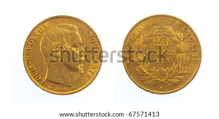 Golden Twenty French Coin Louis Napoleon - stock photo
