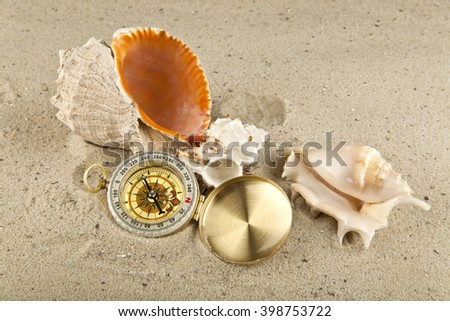 Golden vintage compass and  shells  on sand background close up
