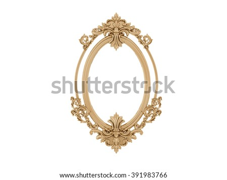 Golden vintage frame. Antique mirror. Design retro element.  physical realistic reflection  - stock photo
