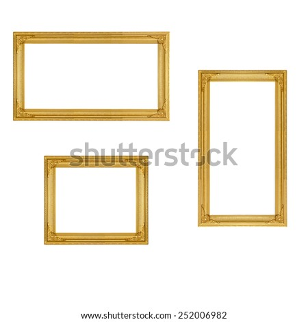 golden vintage picture frame isolate on white background - stock photo