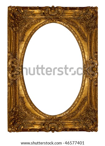 Golden vintage picture frame isolated over white background