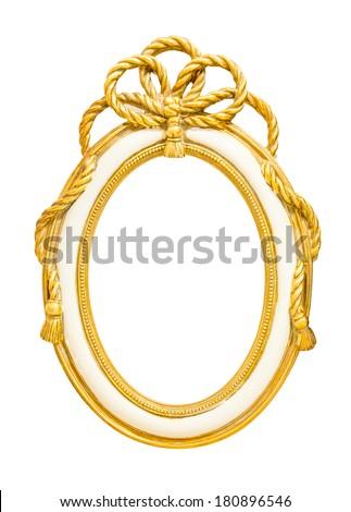 golden vintage style frame isolate on white background - stock photo