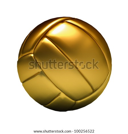 Golden volley ball on white background - stock photo