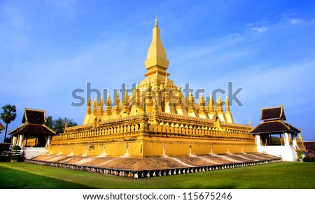 Golden Wat Thap Luang in Vientiane, Laos - stock photo