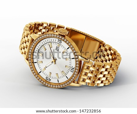 golden watch isolated on a white background
