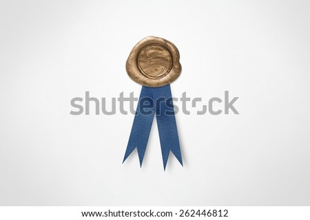 Golden Wax Seal and Blue Ribbon Isolated on White (with clipping path) - stock photo