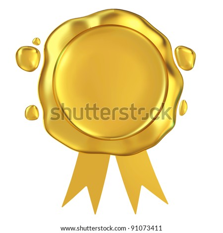 Golden Wax with ribbon isolated on white background