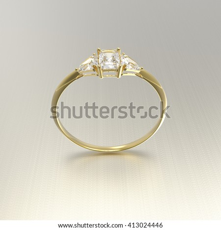 Golden wedding ring with diamonds.. Fashion jewelry. 3d digitally rendered illustration