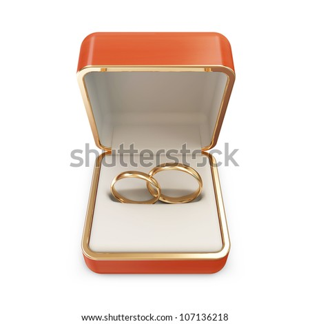 Golden Wedding Rings in a Box isolated on white background