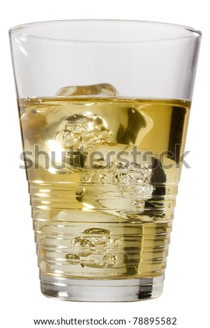 Golden whiskey in a glass isolated on a white background.