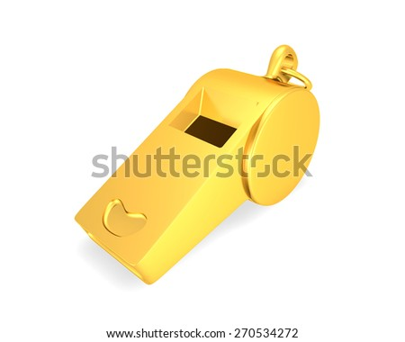 golden whistle   isolated on a white background - stock photo