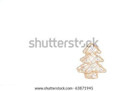 Nice Golden Wired Christmas Tree With Blank Space For Text On White Background