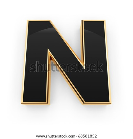 Golden with black letter N isolated on white background - stock photo