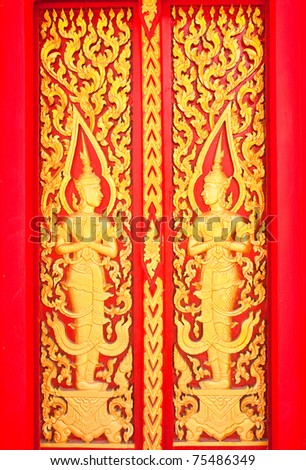 Golden Wood Carving,Traditional Thai Style in Thai Temple. - stock photo