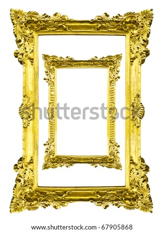 golden wood picture image frame isolated - stock photo