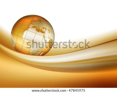 golden world run along the tape - stock photo