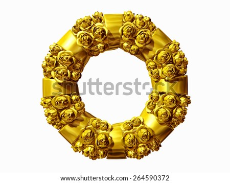 golden wreath with roses and sash - stock photo