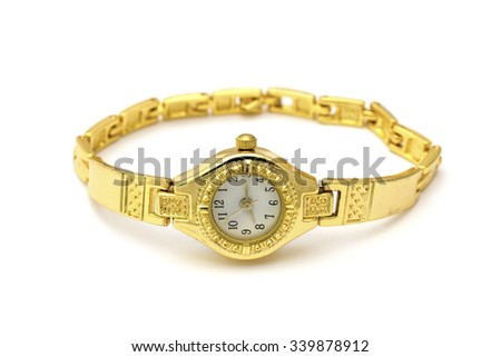 Golden wrist watch isolated on white background
