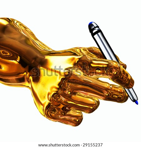 Golden Writer - stock photo