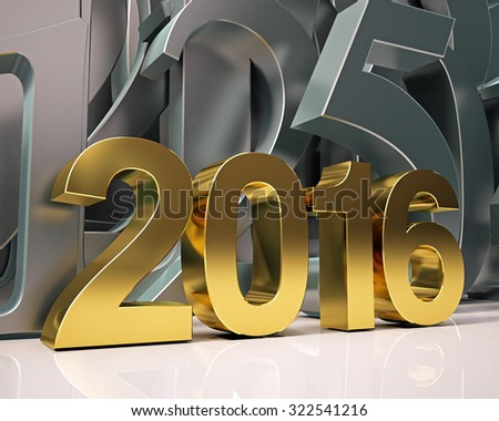 golden year 2016 - stock photo