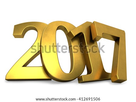 Golden 2017 year figures leaned to the wall 3D render. - stock photo