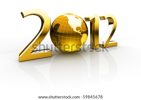 Golden year 2012 made up of numbers and globe as zero - stock photo