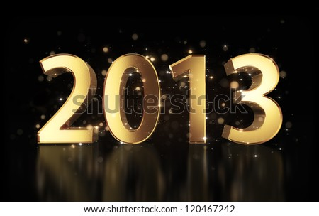 Golden year 2013  with shining sparkles and clipping path - stock photo