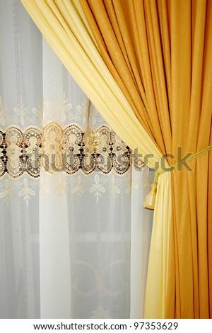 golden yellow silk curtain - stock photo