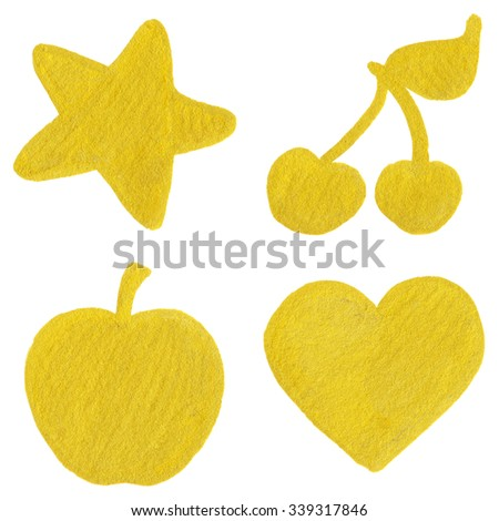 Golden yellow velvet star cherry apple heart symbol set isolated  - stock photo