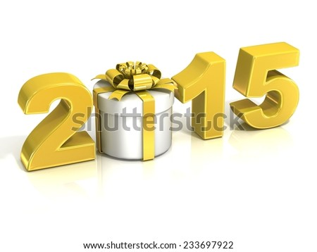 Golden yellow 2015, with round present box, New Year concept. 3D render illustration isolated on white background. - stock photo