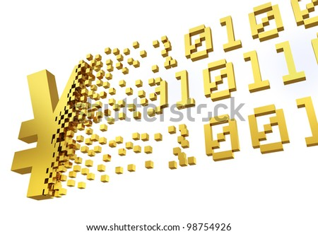 golden yen symbol converting into the shapes of binary code representing electronic money. - stock photo
