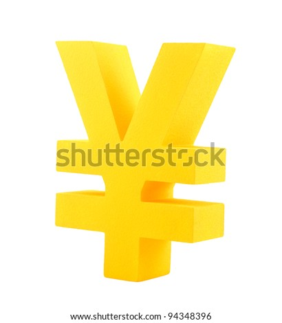 Golden yen symbol isolated on white