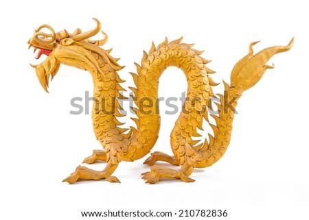 GoldenDragon isolated on white background  - stock photo