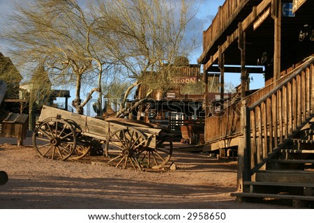 Goldfield Ghost Town, Apache Junction, Arizona; vintage wagon, historic hotel and saloon - stock photo