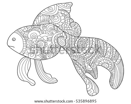 Goldfish Sea Animal Coloring Book For Adults Raster Illustration Anti Stress Adult