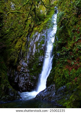 Goldstream Falls, soft water in wet country, Langford, BC, Canada