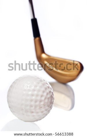 Golf ball and club on white with reflection - stock photo